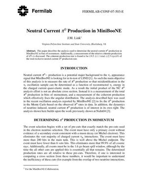 Primary view of object titled 'Neutral current pi0 production in MiniBooNE'.