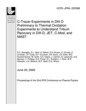 Primary view of object titled '13C-Tracer Experiments in DIII-D Preliminary to Thermal Oxidation Experiments to Understand Tritium Recovery in DIII-D, JET, C-Mod, and MAST'.