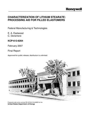 Primary view of object titled 'Characterization of Lithium Stearate: Processing Aid for Filled Elastomers'.