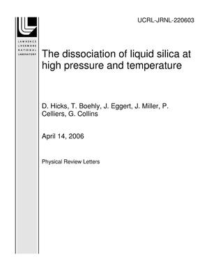 Primary view of object titled 'The dissociation of liquid silica at high pressure and temperature'.