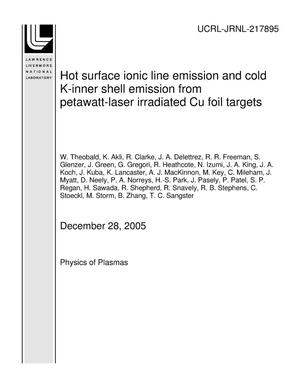 Primary view of object titled 'Hot surface ionic line emission and cold K-inner shell emission from petawatt-laser irradiated Cu foil targets'.