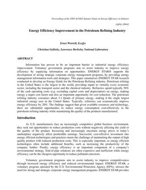 Primary view of object titled 'Energy Efficiency Improvement in the Petroleum RefiningIndustry'.