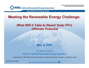 Primary view of object titled 'Meeting the Renewable Energy Challenge: What Will it Take to Reach Solar PV's Ultimate Potential'.