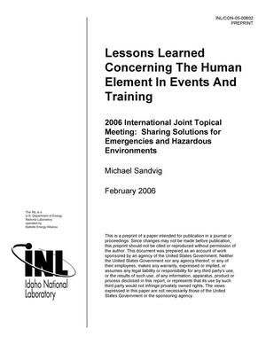 Primary view of object titled 'Lessons Learned Concerning the Human Element in Events and Training'.