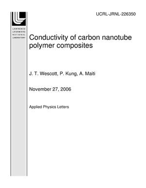 Primary view of object titled 'Conductivity of carbon nanotube polymer composites'.