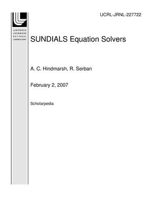 Primary view of object titled 'SUNDIALS Equation Solvers'.