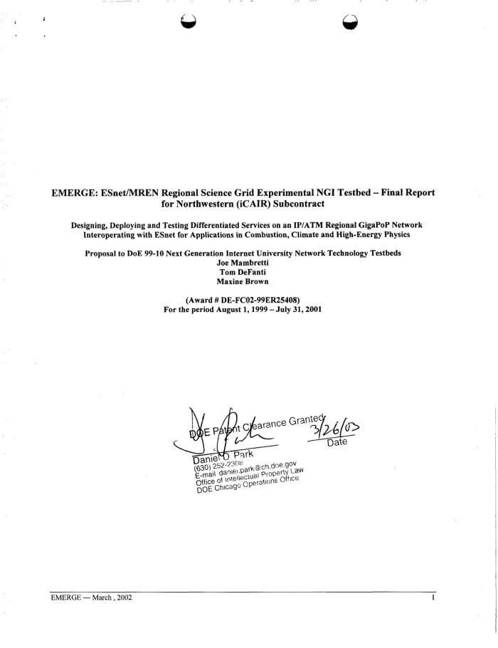 EMERGE - ESnet/MREN Regional Science Grid Experimental NGI