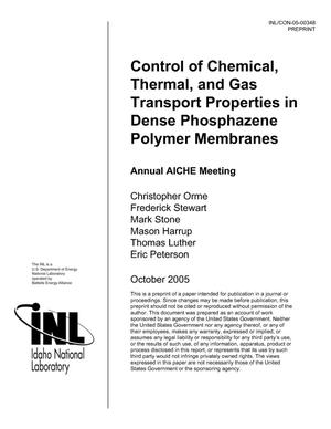 Primary view of object titled 'Control of Chemical, Thermal, and Gas Transport Properties in Dense Phosphazene Polymer Membranes.'.