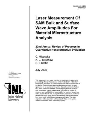 Primary view of object titled 'Laser Measurement of SAM Bulk and Surface Wave Amplitudes for Material Microstructure Analysis'.
