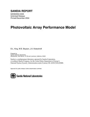 Primary view of object titled 'Photovoltaic array performance model.'.