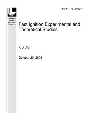 Primary view of object titled 'Fast Ignition Experimental and Theoretical Studies'.