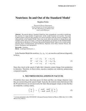 Primary view of object titled 'Neutrinos: in and out of the standard model'.