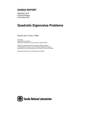 Primary view of object titled 'Quadratic eigenvalue problems.'.