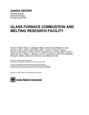 Primary view of object titled 'Glass Furnace Combustion and Melting Research Facility.'.