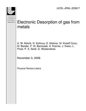 Primary view of object titled 'Electronic Desorption of gas from metals'.