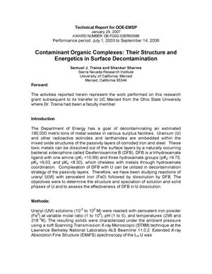 Primary view of object titled 'Technical Report: Contaminant Organic Complexes: Their structure and energetics in surface decontamination'.