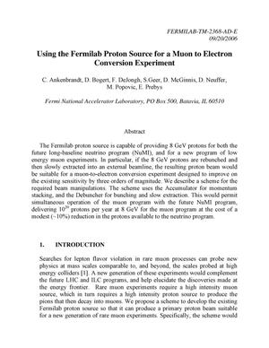 Primary view of object titled 'Using the Fermilab proton source for a muon to electron conversion experiment'.