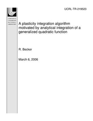 Primary view of object titled 'A plasticity integration algorithm motivated by analytical integration of a generalized quadratic function'.