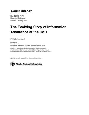Primary view of object titled 'The evolving story of information assurance at the DoD.'.