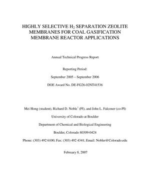 Primary view of object titled 'Highly Selective H2 Separation Zeolite Membranes for Coal Gasification Membrane Reactor Applications'.