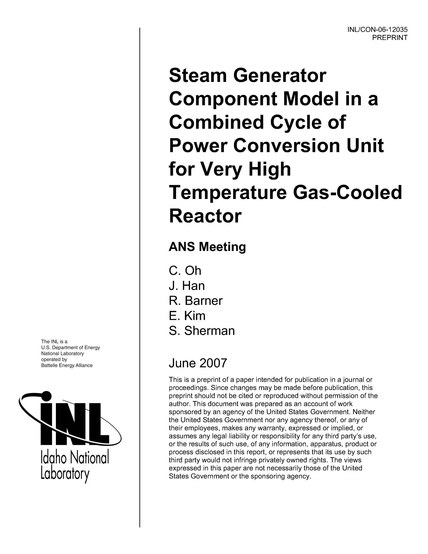 Steam Generator ponent Model in a bined Cycle of Power