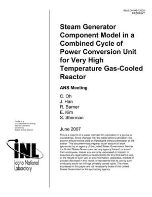 Primary view of object titled 'Steam Generator Component Model in a Combined Cycle of Power Conversion Unit for Very High Temperature Gas-Cooled Reactor'.