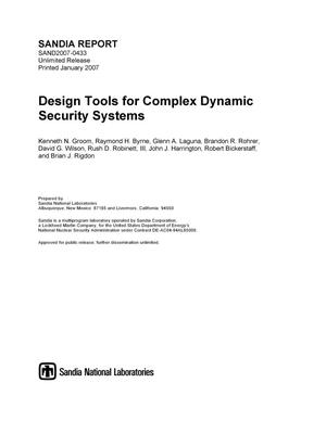 Primary view of object titled 'Design tools for complex dynamic security systems.'.