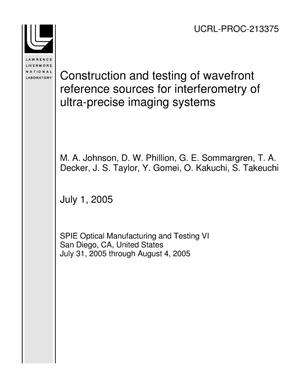 Primary view of object titled 'Construction and testing of wavefront reference sources for interferometry of ultra-precise imaging systems'.