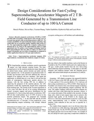 Primary view of object titled 'Design considerations for fast-cycling superconducting accelerator magnets of 2 T B-field generated by a transmission line conductor of up to 100 kA current'.