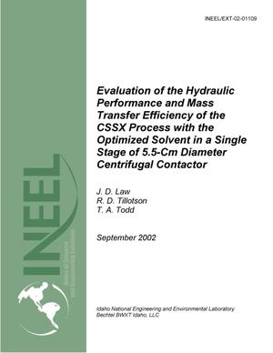 Primary view of object titled 'Evaluation of the Hydraulic Capacity and Mass Transfer Efficiency of the CSSX Process with the Optimized Solvent in a Single Stage of 5.5-cm-Diameter Centrifugal Contactor'.