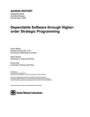 Primary view of object titled 'Dependable software through higher-order strategic programming.'.
