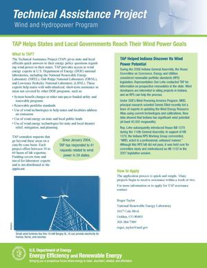 Primary view of object titled 'TAP Helps States and Local Governments Reach Their Wind Power Goals'.