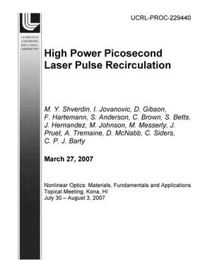 Primary view of object titled 'High Power Picosecond Laser Pulse Recirculation'.