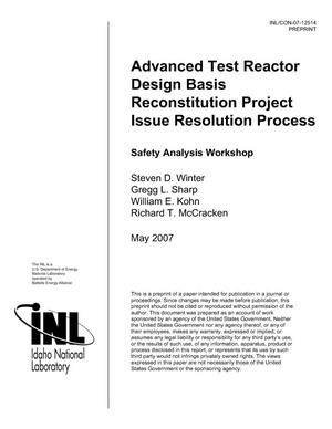 Primary view of object titled 'Advanced Test Reactor Design Basis Reconstitution Project Issue Resolution Process'.