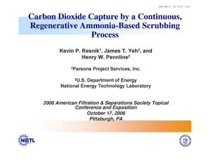 Primary view of object titled 'Carbon Capture by a Continuous, Regenerative Ammonia-Based Scrubbing Process'.