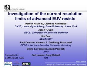 Primary view of object titled 'Investigation of the current resolution limits of advanced EUVresists'.