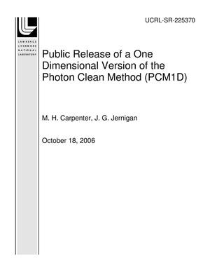 Primary view of object titled 'Public Release of a One Dimensional Version of the Photon Clean Method (PCM1D)'.