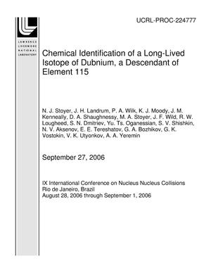 Primary view of object titled 'Chemical Identification of a Long-Lived Isotope of Dubnium, a Descendant of Element 115'.