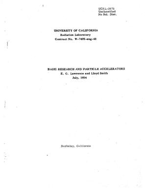 Primary view of object titled 'Basic Research and Particle Accelerators'.