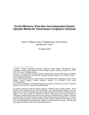 Primary view of object titled 'On the Efficiency of the New York Independent System OperatorMarket for Transmission Congestion Contracts'.