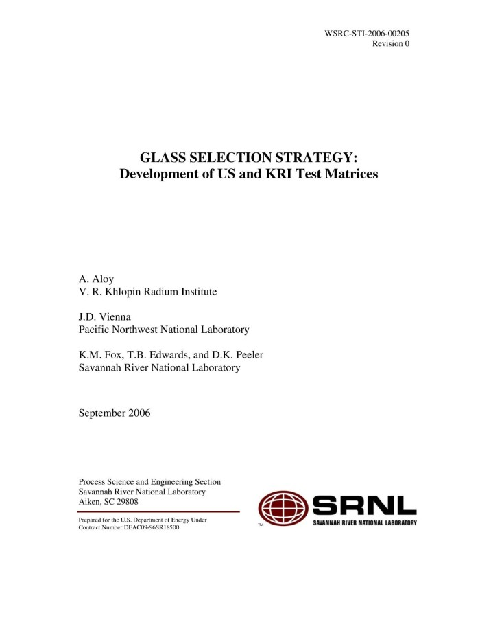 Primary View Of Object Titled U0027GLASS SELECTION STRATEGY: DEVELOPMENT OF US  AND KRI TEST