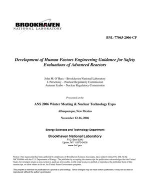Primary view of object titled 'DEVELOPMENT OF HUMAN FACTORS ENGINEERING GUIDANCE FOR SAFETY EVALUATIONS OF ADVANCED REACTORS.'.