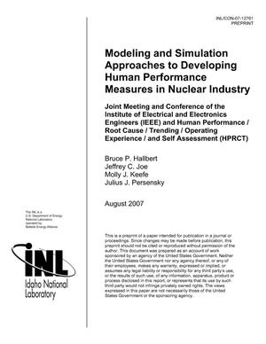 Primary view of object titled 'Modeling and Simulation Approaches to Developing Human Performance Measures in Nuclear Industry'.