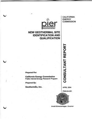 Primary view of object titled 'New geothermal site identification and qualification. Final report'.