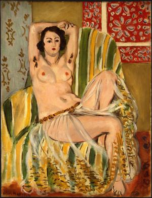 Primary view of object titled 'Odalisque Seated with Arms Raised, Green Striped Chair'.