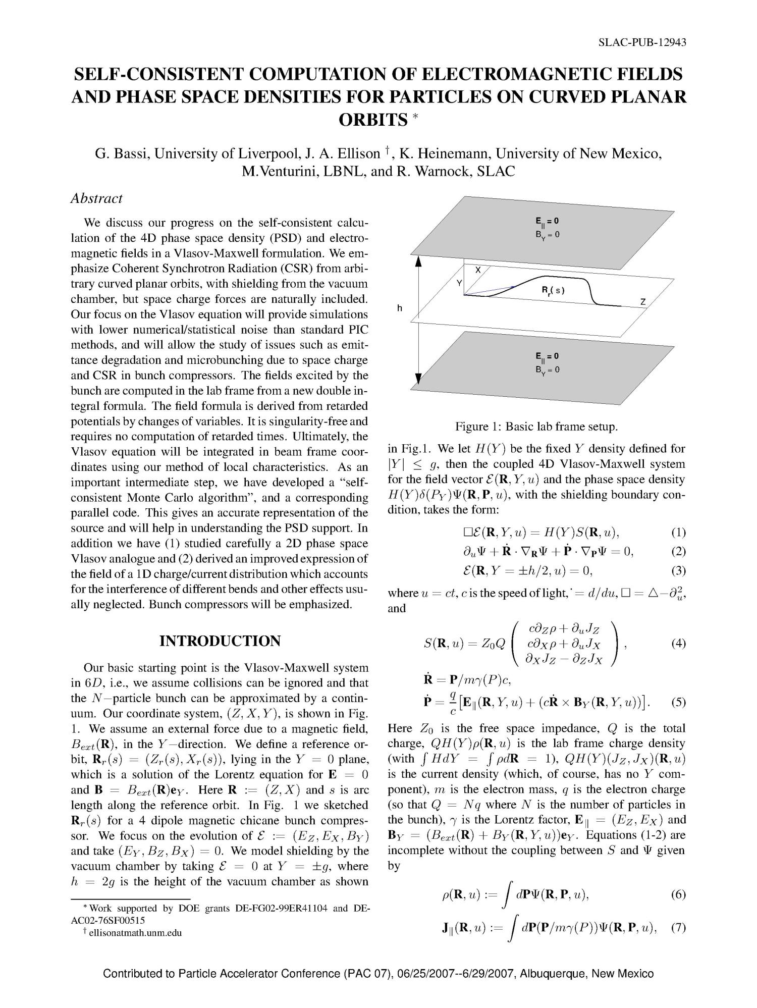 Self-Consistent Computation of Electromagnetic Fields and Phase Space Densities for Particles on Curved Planar Orbits                                                                                                      [Sequence #]: 1 of 5