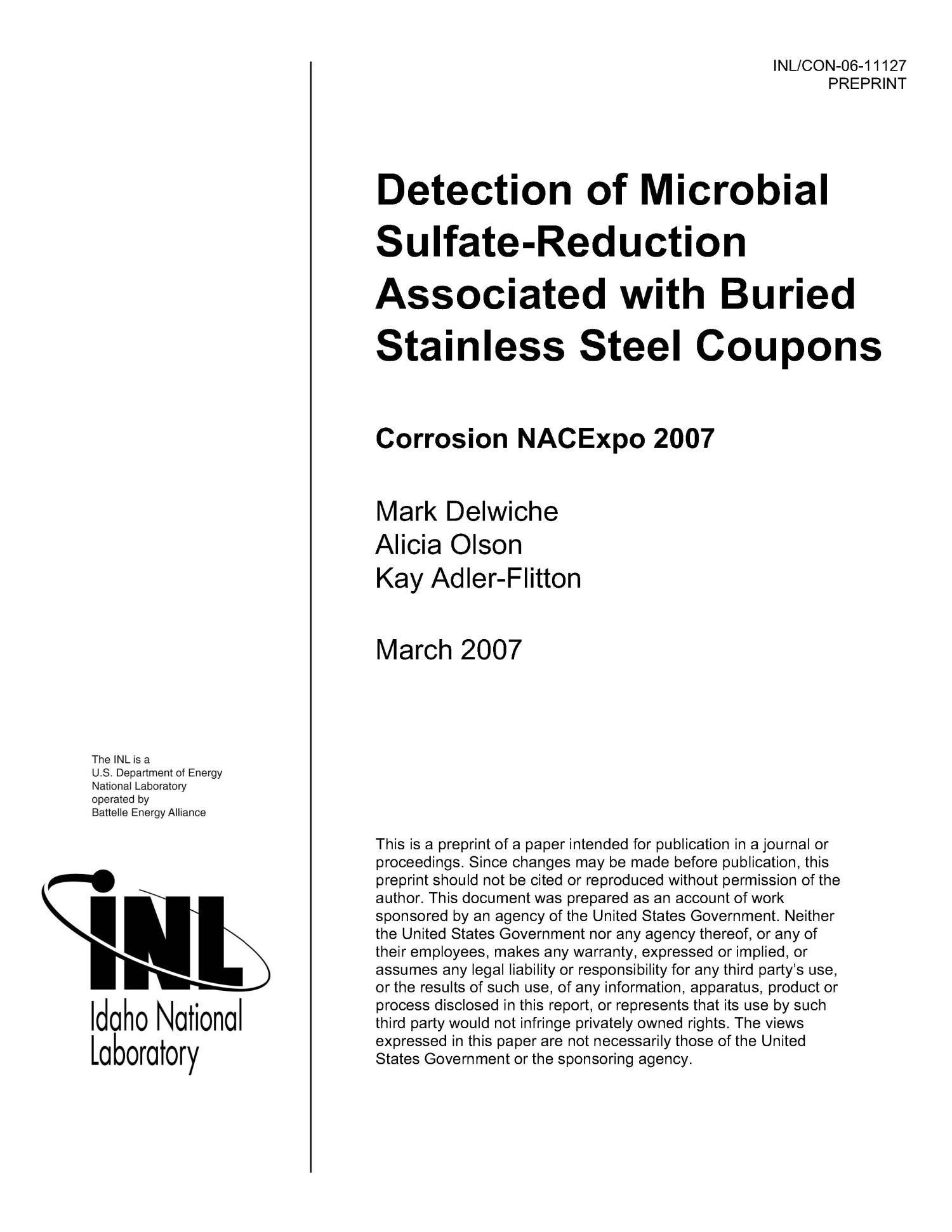 Detection of Microbial sulfate-reduction associated with buried stainless steel coupons                                                                                                      [Sequence #]: 1 of 12