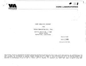 Primary view of object titled 'Core analysis [final] report for Eaton Operating Co., Inc.'.