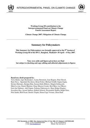 Primary view of object titled 'Summary for Policymakers IPCC Fourth Assessment Report, WorkingGroup III'.
