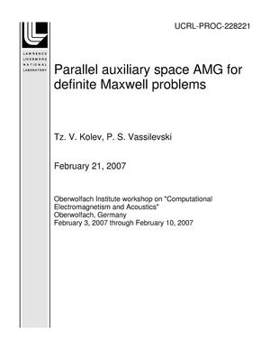 Primary view of object titled 'Parallel auxiliary space AMG for definite Maxwell problems'.